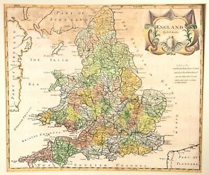 ORIGINAL-HAND-COLOURED-ROBERT-MORDEN-MAP-OF-ENGLAND-AND-WALES-1695