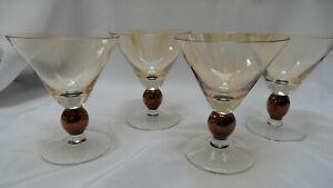 Set-of-4-Krosno-Poland-Martini-Glasses-Amber-Gold-w-Bronze-Ball-Stem
