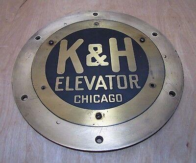 Antique K/&H ELEVATOR CHICAGO Brass Plaque Advert Sign Old Architectural Hardware