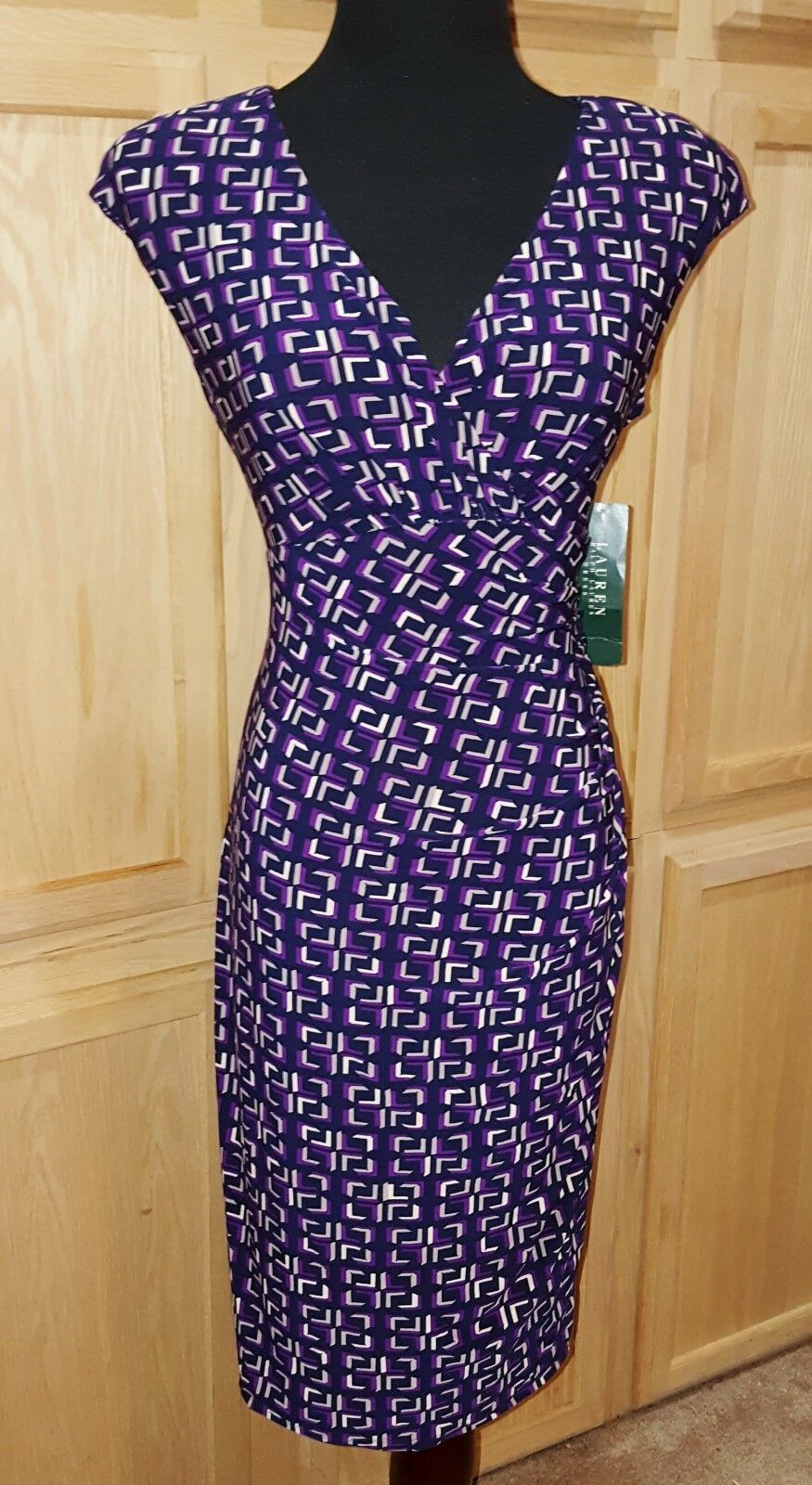 Ralph Lauren Navy Purple Geo Print Surplice Stretch Jersey Dress, 10R  -