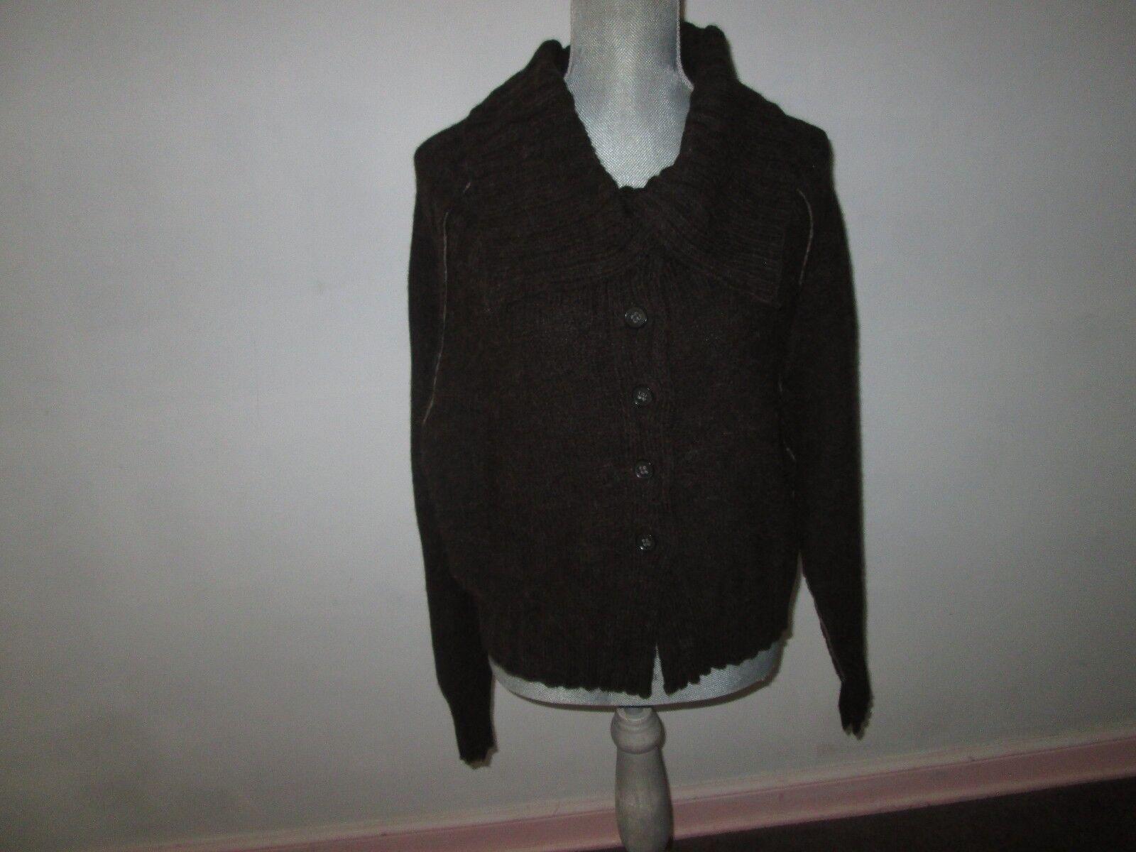 CREA CONCEPT Espresso Brown Wool Alpaca Blend Button Up Cardigan Sweater S