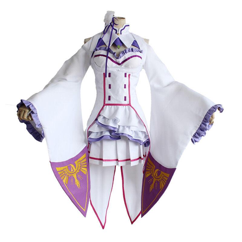 Cosplay Re  Zero Kara Hajimeru Isekai Seikatsu Emilia Costume outfit uniforme