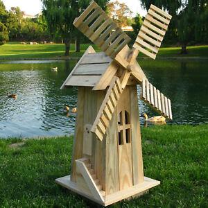 Garden Windmill Decoration Lawn Yard Ornament Decor Statue Wood Rust Resist