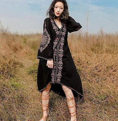 Fashion Women's Embroidery Linen Dress Boho Long Beach Dress Long Sleeve Blouson