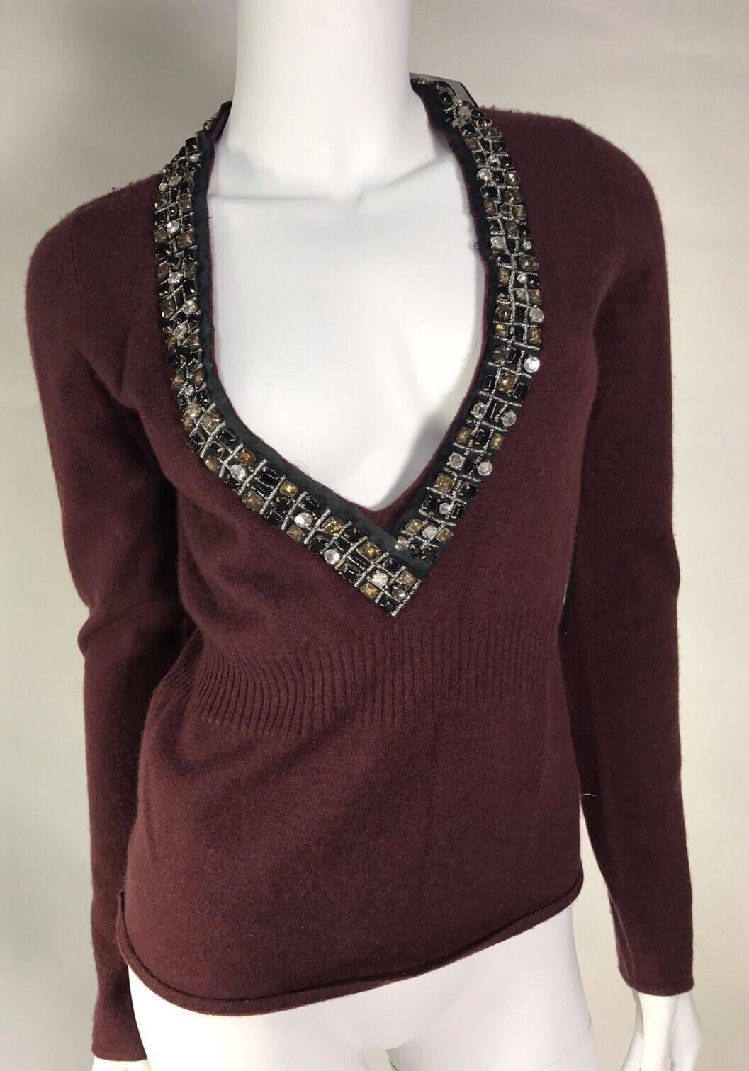 Nwt Christopher Pischer 100% Cashmere Sweater SZ M Retail495  WithCristal Decor