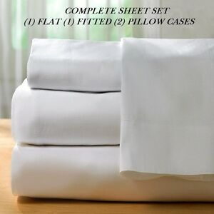 1-queen-size-white-new-sheet-set-percale-hotel-flat-fitted-2-cases-series-T250