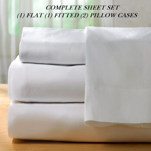 1 queen size white new sheet set t-200 percale hotel flat fitted 2 pillow case