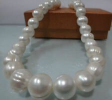 "10-11MM NATURAL WHITE BAROQUE Seawater PEARL NECKLACE 18"" AAA"