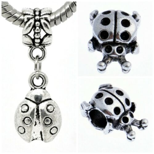 Antique Silver Ladybird Ladybug Charms beads For European Charm Bracelets