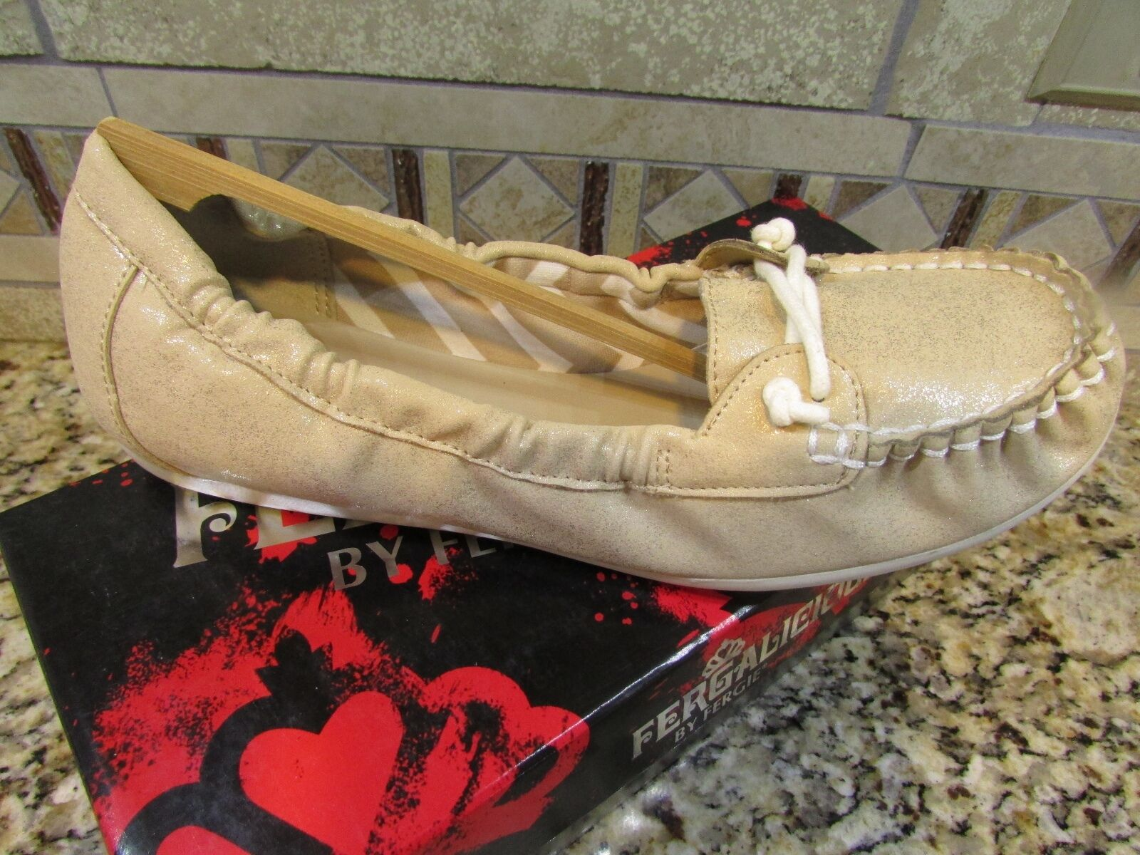 NEW FERGALICIOUS WEEKENDZ MOCCASIN SHOES WOMENS 8.5 gold BOAT SHOES FREE SHIP