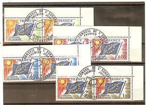 TIMBRES-DE-SERVICES-conseil-de-l-039-europe-YVERT-N-46-a-49-obliteres-en-paire