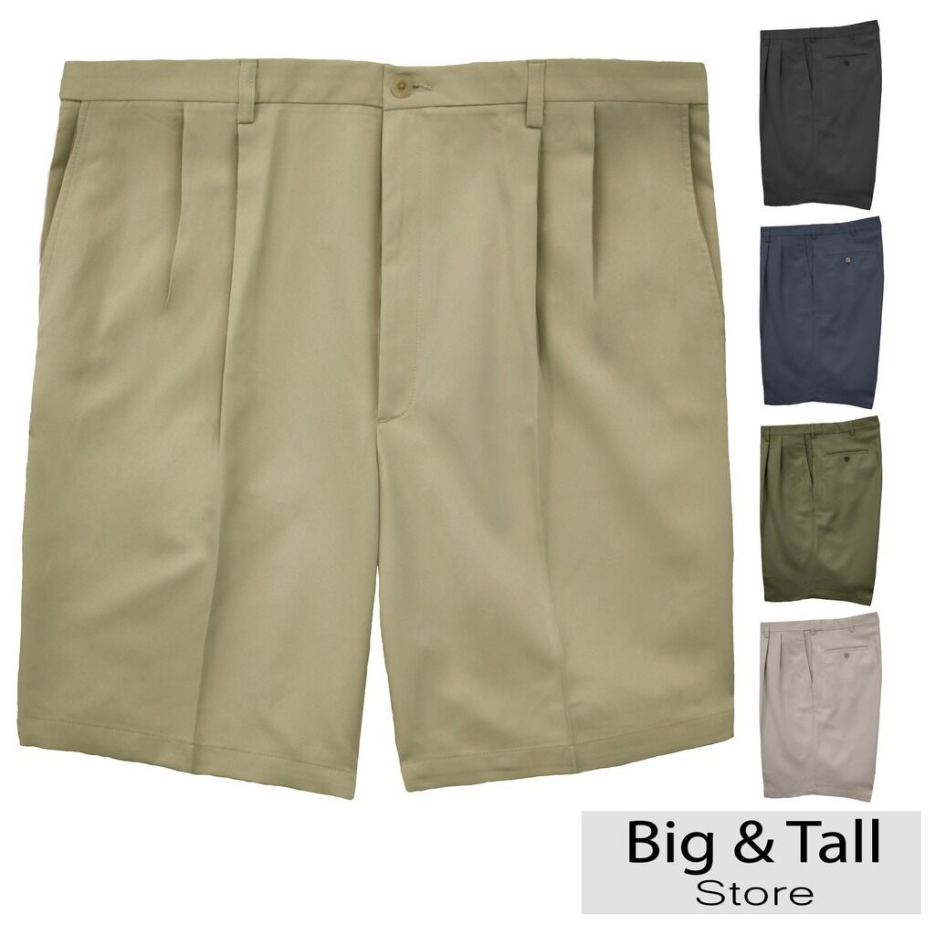 d7bf7765d9 Big & Tall Men's Haggar Pleated Casual Shorts Expandable Waist Sizes 44 - 60