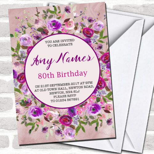 Pink /& Purple Watercolour Floral 80th Birthday Party Invitations