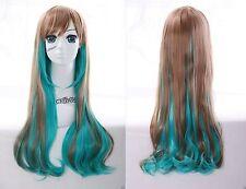 W-22 vert marron mélange 70cm Harajuku Lolita Boucles perruque COSPLAY