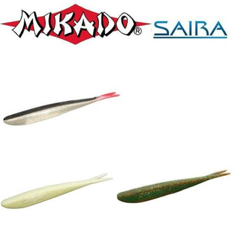 "20cm Mikado Saira 8/"" split,fork tail 3pcs drop shot,vertical,lure,grafham,pike"