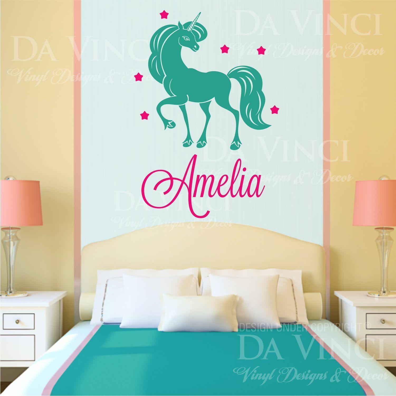 Unicornio Pony girl costumbre personalizado personalizado nombre de Parojo Pegatina De Vinilo Calcomanía B