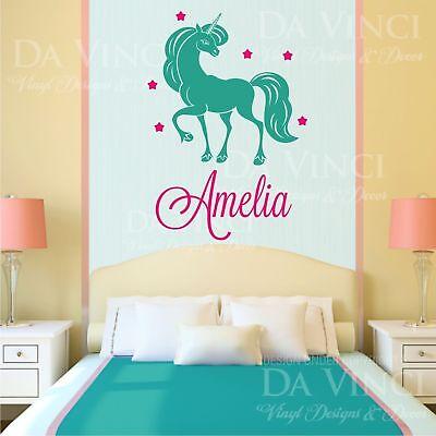 Unicorn Pony Girl Custom Name Wall Personalized Custom Vinyl Sticker Decal K