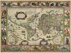 Blaeu World Map.2 New Reproduction Vintage Old Colour Color Maps Blaeu Visscher Of