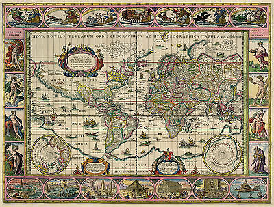 2 NEW Reproduction VINTAGE OLD COLOUR Color Maps Blaeu /& Visscher of the WORLD