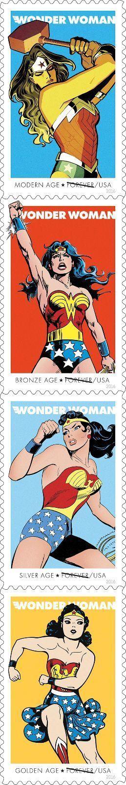 2016 47c Comic Book Wonder Woman, 75th, Strip of 4 Scot