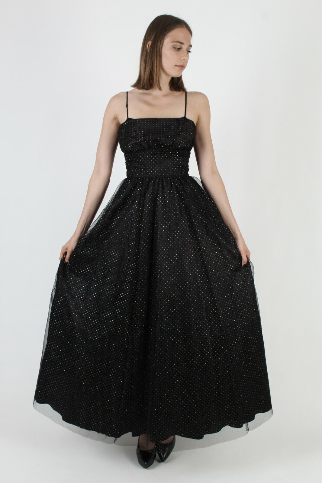 Vintage 80s Gunne Sax Dress Black Chiffon Rainbow… - image 3