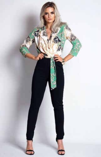 ~ISLA~ Green Paisley Wrap Plunge V Neck Sleeve Evening Party Jumpsuit 8 10 12 14