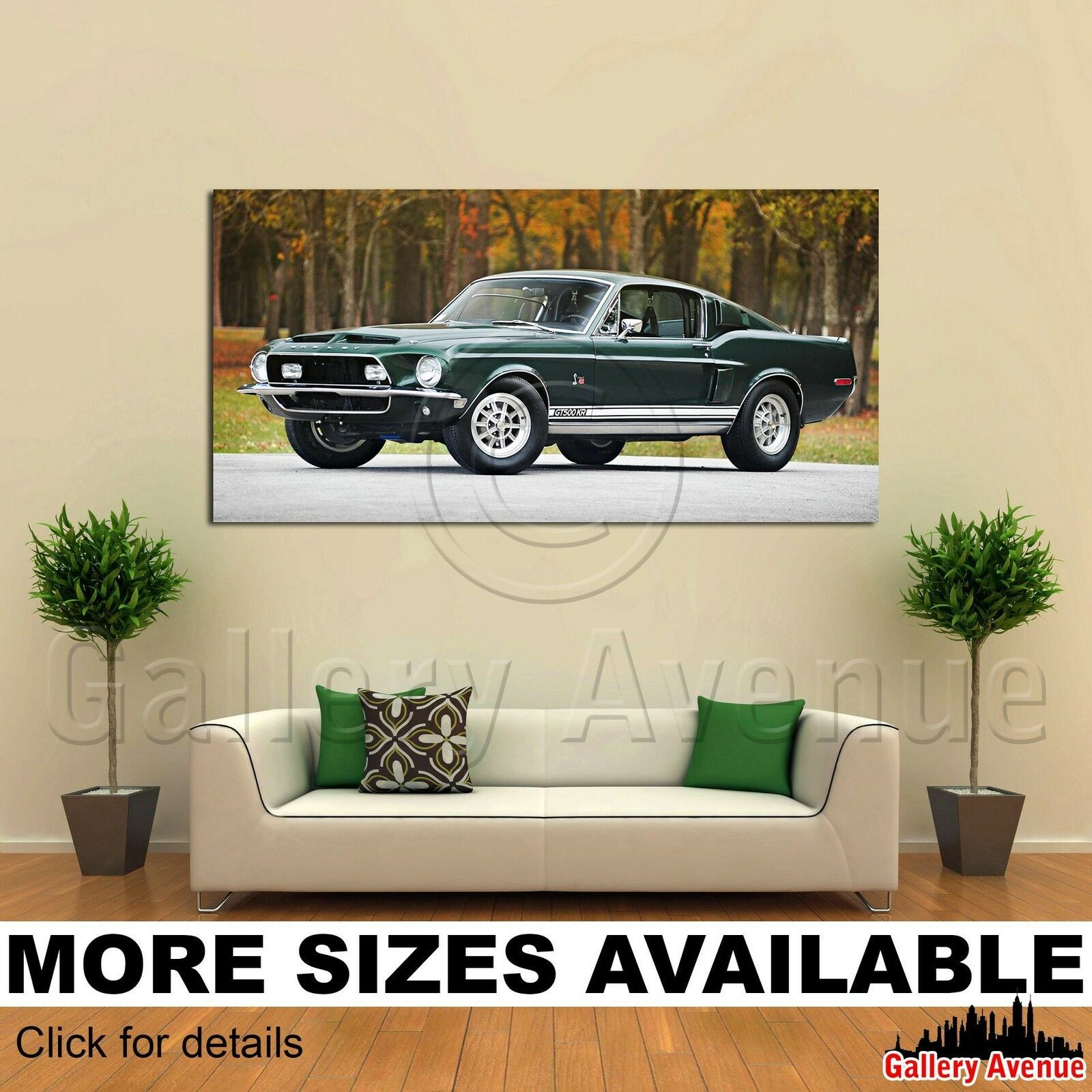 Wall Art Canvas Picture Print - Ford Mustang Shelby GT500 Muscle Car 2.1