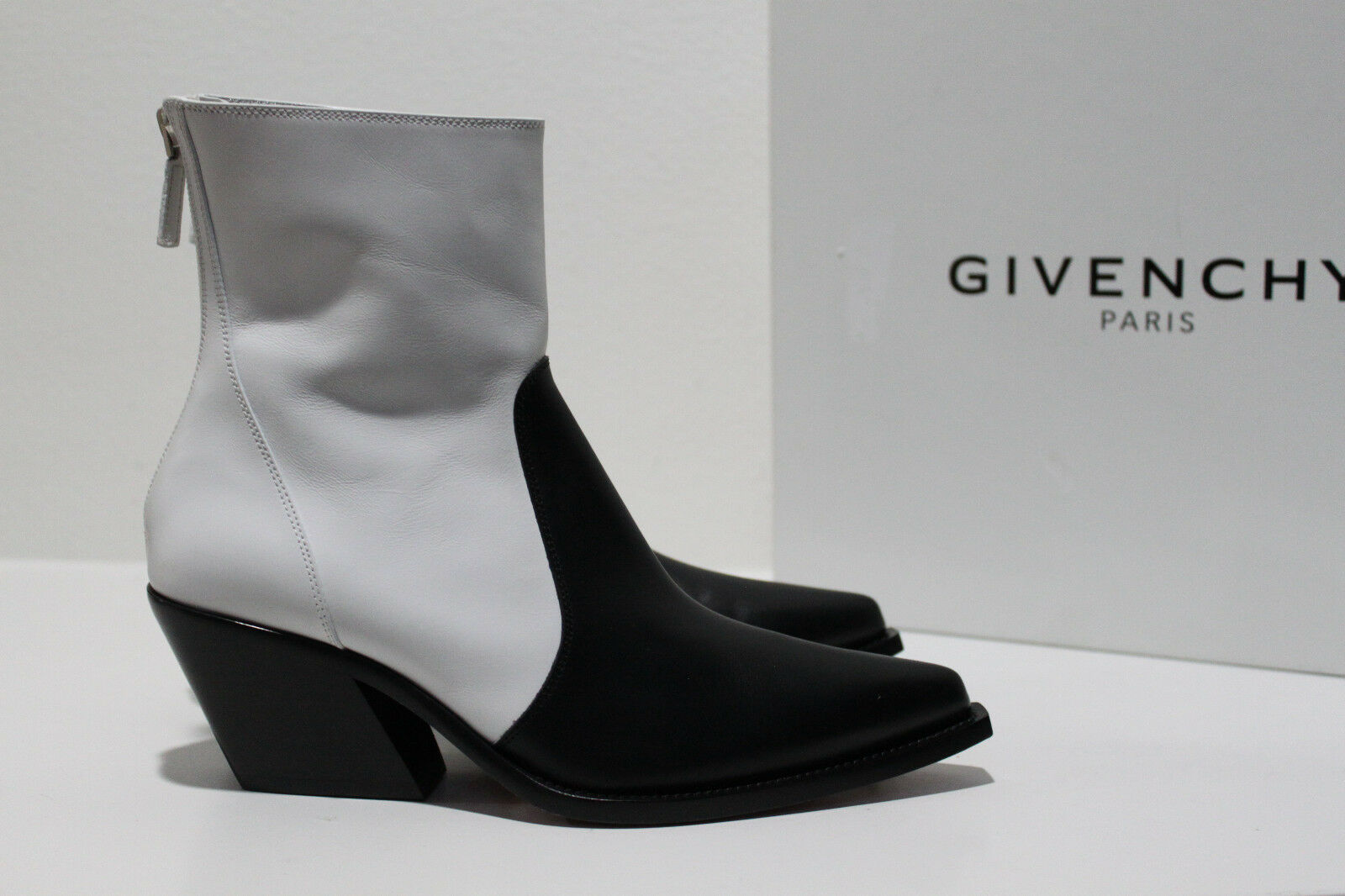 New sz 6.5   37 Givenchy Black & White Leather Cowboy Ankle Bootie Heel shoes