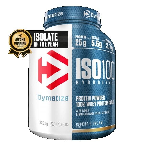 Dymatize Nutrition Iso 100 Whey Protein Powder Post Workout Workout Post 2.27kg - Cookies 310916