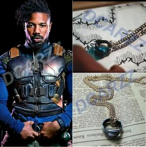 Black-Panther-Wakandan-Royal-RING-amp-NECKLACE-Chain-Eric-KILLMONGER-Men-Cosplay