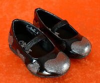 Girl's Youth Toddler's Buster Brown layla Size 5 Black Silver Mary Jane Hearts