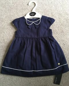 Bnwt-gorgeous-Marks-And-Spencer-Autograph-Navy-White-Dress-Size-0-3-Months-baby