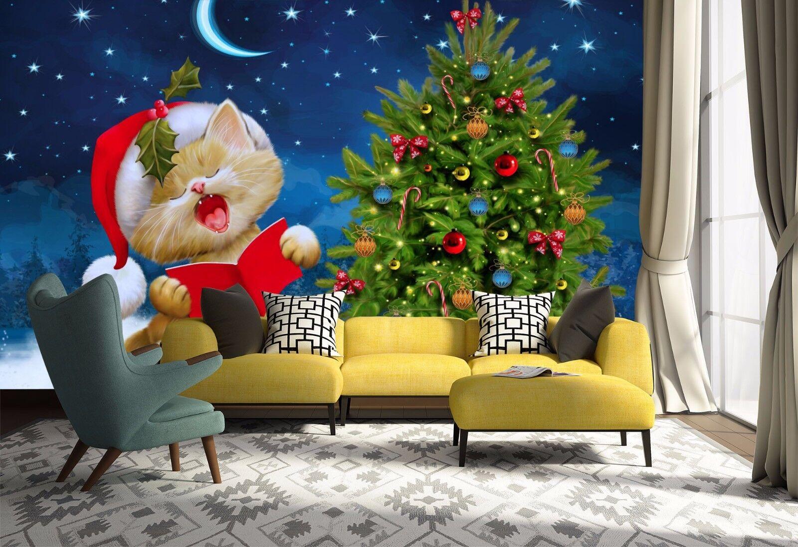 3D Hat Cat Christmas 74 Wall Paper Murals Wall Print Wall Wallpaper Mural AU Kya