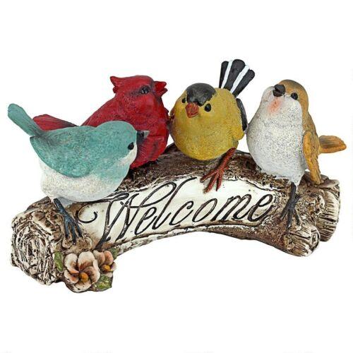 Birdy Bluebird Cardinal Wren Welcome Garden Bird Sculpture Outdoor Statue