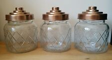 copper rose gold tea coffee sugar glass kitchen canisters set
