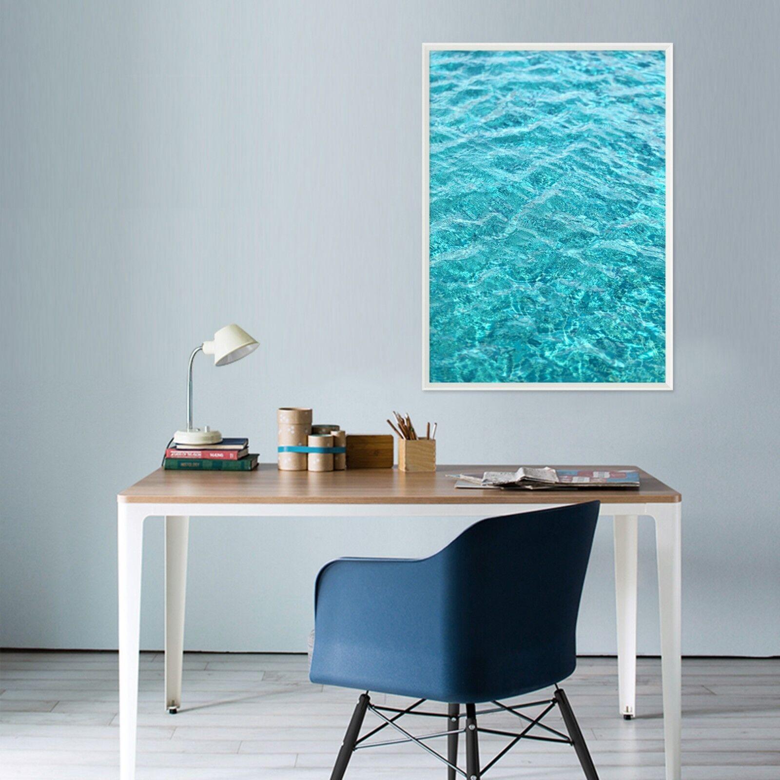 3D Sea Water bluee 1 Framed Poster Home Decor Print Painting Art AJ WALLPAPER UK