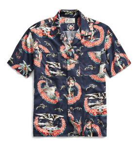RRL Ralph Lauren Tropical-Print Camp Tattoo Art Hawaiian Aloha Shirt ... ee369efe5370