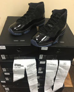 Air Jordan XI Retro 11 Cap and Gown Prom Night Triple Black 378037-005 Sz 814