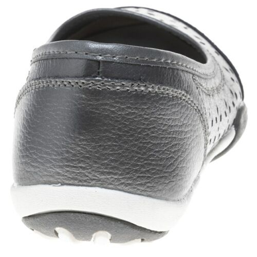 Nouveau Débardeur Solesister gris métallisé Stephanie cuir Chaussures Flats Slip On