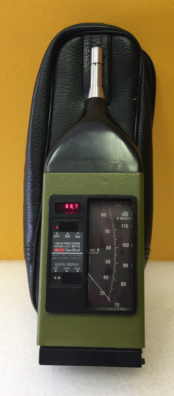 General Radio 1981B 30-80 / / / 70-120 dB, Sound Level Meter + Mic + Case, Tested 5be5a9