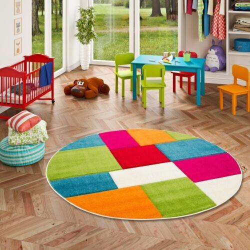 Kinder Teppich Savona Kids Karo Bunt Design Multicolour Rund