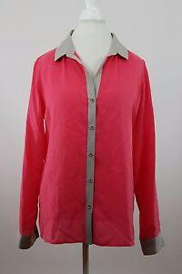4e7a8fa05da37c Womens Trouve' Silk Blouse Pink/Gray Medium Long Sleeve Front Button ...