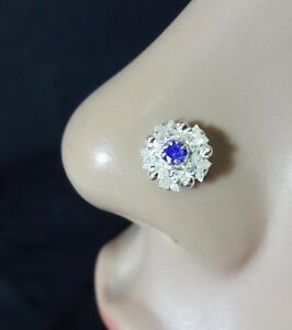 Silver Nose Pin Indian Nose Ring Sapphire Stone Nose Stud
