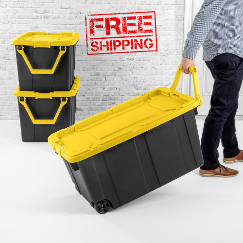 Wheeled Tote Plastic Storage Container Box With Lid 40 Gal Organizer Bin 2 Pack