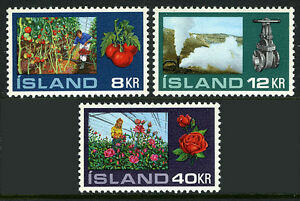 Steam Valve Hothouse Gardening Roses Tomatoes 1972 Mnh Delicious Iceland 443-445