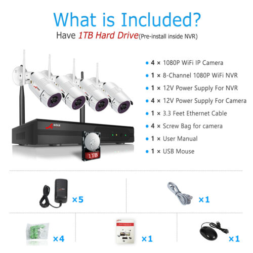 8CH 1080P Wireless Outdoor Security Camera System WIFI NVR Waterproof IP 2TB HDD