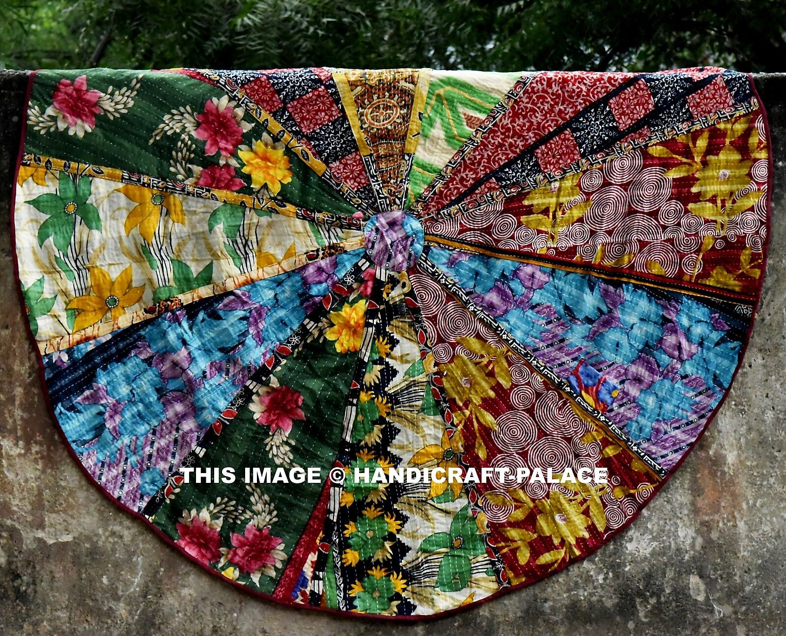Indian Kantha Work Quilt Round Roundie Tapestry Throw Yoga Mat Wand Hanging Rug