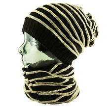 ITZU Co 3 in 1 Strip Slouch - Beanie - Neck - Face - Scarf Warmer Snood Cap Hat