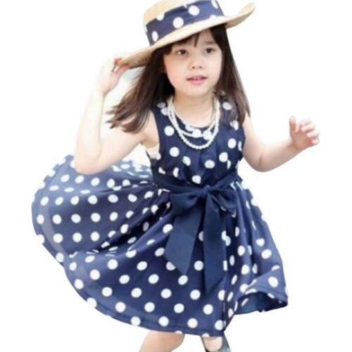 Sleeveless Polka Dot Girl Dress Summer Casual Dresses Children Clothes Kids Wear