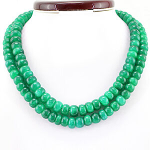 882.00 Cts Earth Mined 2 Strand Round Shape Rich Green Emerald Beads Necklace